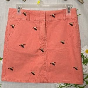 Preppy pink corduroy embroidered duck mini skirt